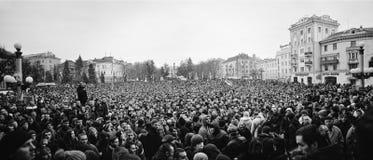 Ternopil, UCRÂNIA - em fevereiro de 2014: Euromaidan volta fotos de stock