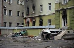 Ternopil UKRAINA - FEBRUARI 2014: Euromaidan rotation arkivbilder