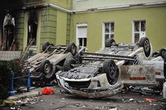 Ternopil UKRAINA - FEBRUARI 2014: Euromaidan rotation royaltyfria foton
