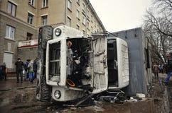 Ternopil UKRAINA - FEBRUARI 2014: Euromaidan rotation royaltyfri bild