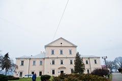 Ternopil Ukraina - Juli 24, 2018: Slott i mitten av Terno royaltyfria foton