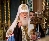 Ternopil, UKRAINE – Deс. 18, 2018: Honorary Patriarch of the united autocephalous Ukrainian Orthodox Church Filaret during a. Grateful prayer for stock image