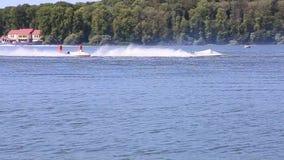 TERNOPIL, UKRAINE - AUGUST 23 : Speed Boat World Championship 2016, August 22-24, Man on WaveRunner turns very fast stock video