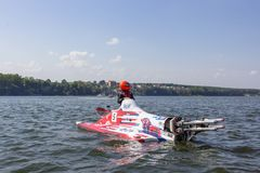 Defective motorboat car. Ternopil, Ukraine - 25-26 August 2018: UIM World Championship 2018 Ternopil Hydro GP. Water motor sport. Formula-1 on the water. Race on stock photography