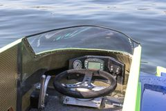 Cabin motorboat car. Ternopil, Ukraine - 25-26 August 2018: UIM World Championship 2018 Ternopil Hydro GP. Water motor sport. Formula-1 on the water. Race on the stock photo