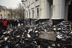 Ternopil, UKRAINE - FEBRUARY 2014: Euromaidan. Revolution. royalty free stock photography