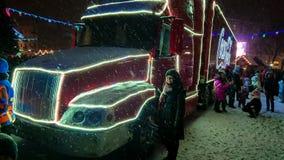Ternopil, Ukraine - January 5, 2019: Coca-Cola Christmas truck visits Ternopil stock photography