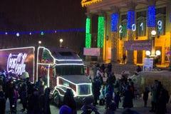 Ternopil, Ukraine - January 5, 2019: Coca-Cola Christmas truck visits Ternopil stock photos