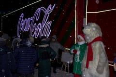 Ternopil, Ukraine - January 5, 2019: Coca-Cola Christmas truck visits Ternopil stock photo