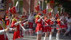Ternopil, Ukraine June 27, 2019: Street performance on the occasion of the holiday. Young drummers line up and beat the. Ternopil, Ukraine June 27, 2019: Close stock video