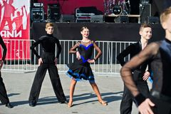 Ternopil, Ukraine - October 1, 2017: Ballroom dancing kids at Po Stock Photography