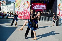Ternopil, Ukraine - October 1, 2017: Ballroom dancing kids at Po Royalty Free Stock Images