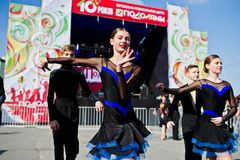 Ternopil, Ukraine - October 1, 2017: Ballroom dancing kids at Po. Dolyany Show Stock Photo
