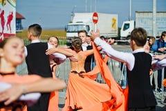 Ternopil, Ukraine - October 1, 2017: Ballroom dancing kids at Po. Dolyany Show Royalty Free Stock Photos