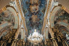 Ternopil, Ukraine - 20 October 2018: Cathedral of the Immaculate Conception of the Blessed Virgin Mary, ceiling and chandelier stock image