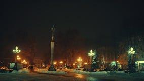 Ternopil van de binnenstad bij Kerstmis in de avond stock video