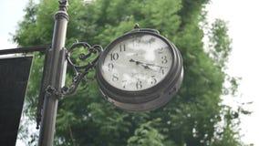 Ternopil Vieille horloge noire en parc banque de vidéos