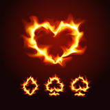 Ternos do cartão de jogo no fogo Fotografia de Stock Royalty Free