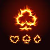 Ternos do cartão de jogo no fogo Imagem de Stock Royalty Free