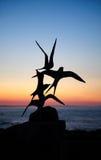 Terns- bird sculptures at Skerrie on a beautiful sunset stock photos