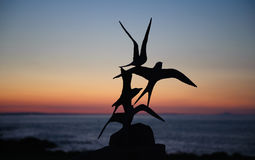 Terns- bird sculptures at Skerrie on a beautiful sunset Royalty Free Stock Image