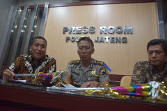 Terompert inscribed with calligraphy. Results of the investigation while the Police Central Java on cases of trumpet made of a cover paper for the cover of the stock photo