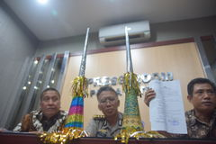 Terompert inscribed with calligraphy. Results of the investigation while the Police Central Java on cases of trumpet made of a cover paper for the cover of the stock photography