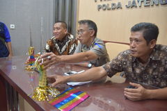 Terompert inscribed with calligraphy. Results of the investigation while the Police Central Java on cases of trumpet made of a cover paper for the cover of the stock images