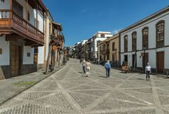 TEROR, GRAN CANARIA, SPAIN - MARCH 08, 2018: View of very cozy street in the historic center. Old houses, ominous from time , royalty free stock images