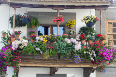 Teror. Traditional flowered balcony in Teror, Canary Islands, Spain Royalty Free Stock Images