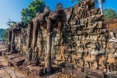 Terraço Angkor Thom cambodia do elefante fotografia de stock royalty free