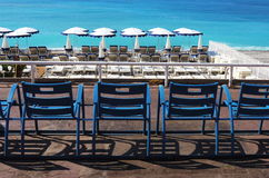 Terraço ao longo do Riviera francês, agradável Foto de Stock Royalty Free