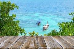 Terraço de madeira vazio do assoalho da perspectiva na cena do oceano, fundo do barco da cauda longa Imagens de Stock Royalty Free