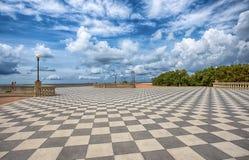 Terraço de Mascagni, passeio de Livorno, litoral pitoresco em Toscânia, Itália fotografia de stock royalty free