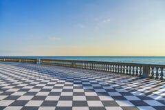 Terraço de Mascagni Terrazza no por do sol Livorno Toscânia Itália Foto de Stock Royalty Free