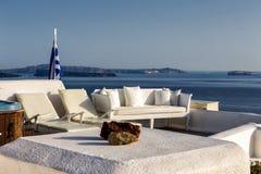 Terraço do panorama acima do caldera de Santorini Imagens de Stock Royalty Free