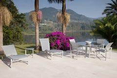 Terraço do Poolside Foto de Stock Royalty Free