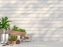 Terraço exterior com equipamento de jardim 3d para render ilustração do vetor