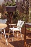 Terraço luxuoso com mobília moderna e projeto natural Cadeira branca no assoalho de madeira e nas plantas bonitas fotos de stock royalty free
