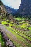Terraços de Pumatallis em Inca Fortress em Ollantaytambo, Pe imagem de stock royalty free