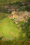 Terraços e vila do arroz da paisagem na porcelana Foto de Stock Royalty Free