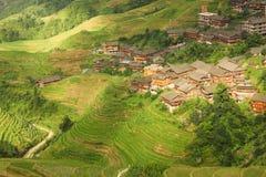 Terraços e vila do arroz da paisagem na porcelana Fotografia de Stock