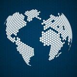 Terra abstrata do globo dos hexágonos Imagens de Stock Royalty Free