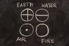 Terra, acqua, aria e fuoco sulla lavagna Immagine Stock