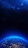 Terra alla notte con le luci della città Immagine Stock