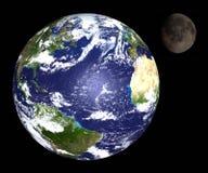 Terra & lua Imagens de Stock Royalty Free