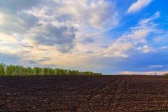 Terra arata con il bello cielo della molla Fotografia Stock Libera da Diritti