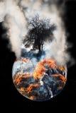 Terra ardente do globo fotos de stock