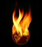 Terra ardente nas flamas Imagens de Stock