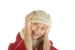 Terra arrendada adorável da mulher sua cabeça fotografia de stock royalty free
